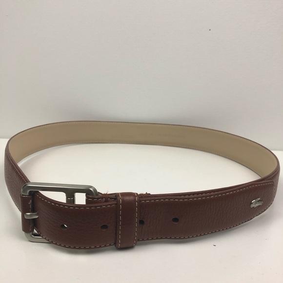 4075410e4ddbe Men's Lacoste Leather Metal Croc Belt
